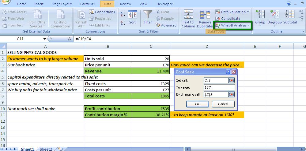 goal seek excel function in pricing analyst job
